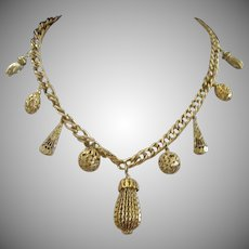 Signed 1928 Gold Tone Vintage Necklace with Charms