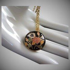 Vintage Cloisonne Necklace, Black with Flowers