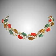 Fab Fall Colors Lucite and Rhinestone Necklace