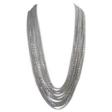 Trifari Silver Tone 15 Strand Multi Chain Necklace