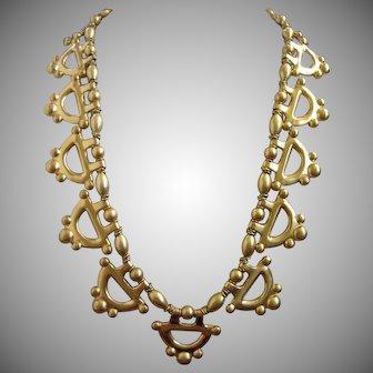 Anne Klein Matte Brushed Gold Tone Statement Necklace