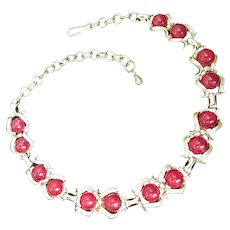 Burgundy Wine Lucite Vintage Choker Style Necklace