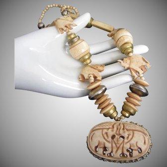 Vintage Carved Bone Elephant Necklace