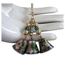 Tinkling Trio of Cloisonne Bells Vintage Necklace