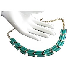 Staggered Green Lucite Tubes Vintage Necklace