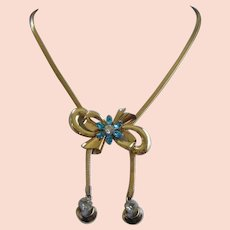 Carl Art 12K Gold Filled Bow and Rhinestone Bolo Necklace