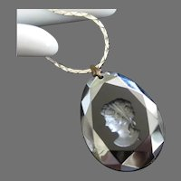 Intaglio Cameo Onyx Colored Glass Pendant Necklace, Beveled or Faceted Edge