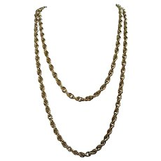 Long MONET Twisted Rope Chain Gold Tone Necklace, 52 Inches