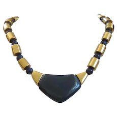 Vintage NAPIER Navy Blue Lucite and Gold Tone Necklace
