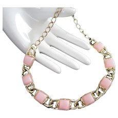Soft Pink Lucite Lozenges Vintage Necklace