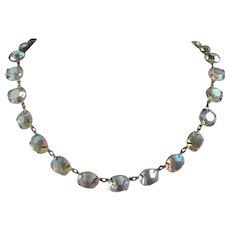 Bezel Set Aurora Borealis Rhinestones Choker Necklace