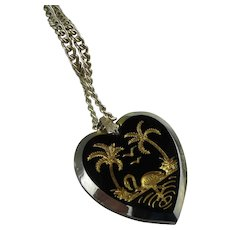Carved Black Glass Heart Pendant Necklace with Flamingo and Palms