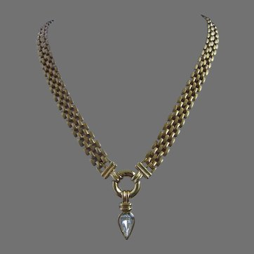 Vintage Crystal Rhinestone Teardrop on Ring Necklace