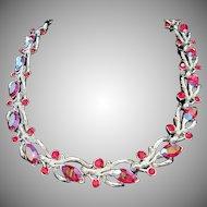 Lisner Red AB Rhinestone Choker Necklace