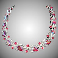 Lisner Red Rhinestone Choker Style Necklace ~ FINAL REDUCTION!