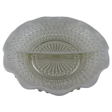 Anchor Hocking Relish Dish in Opalescent Moonstone Pattern, 1940's