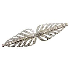 Vintage Faux Marcasite, Silver Tone Brooch Pin