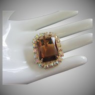 Vintage Topaz and AB Rhinestone Pin or Pendant