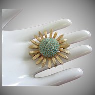 Les Bernard Turquoise Milk Glass Rhinestone Flower Pin Brooch