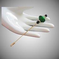 Italian Green Murano Glass Stick Pin