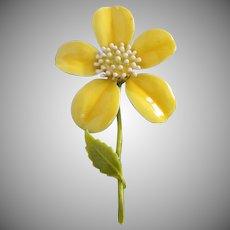 Happy Perky Yellow Enamel Flower Pin