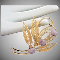 Delicate Gold Tone Filigree and Lavender Genuine Stone Pin Brooch