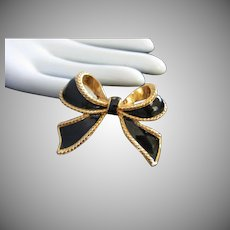 Kenneth J Lane Black Enamel, Gold Tone Scarf Clip