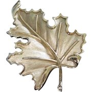 Trifari Elegant Gold Tone Leaf Pin Brooch