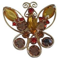 Light and Dark Topaz Rhinestone Butterfly Pin