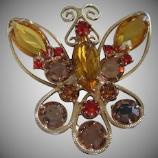 Light and Dark Topaz Rhinestone Butterfly Pin