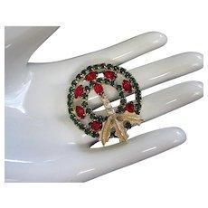 Holiday Rhinestone Christmas Wreath Pin Brooch