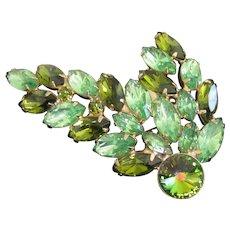 Olivine, Peridot and Green Heliotrope Rivoli Rhinestone Brooch Pin