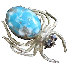 Gold Tone Spider Pin with Faux Turquoise Body