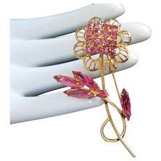 Juliana Fuchsia and Rose Rhinestone Flower Pin Brooch