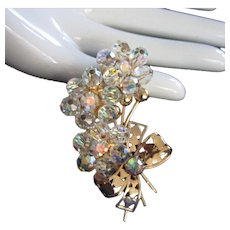 Aurora Borealis Crystal Flower Clusters Pin Brooch