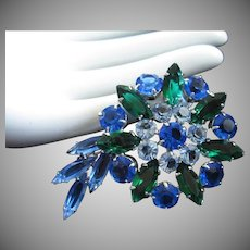 Three Shades of Blue and Emerald Rhinestone Pin Brooch