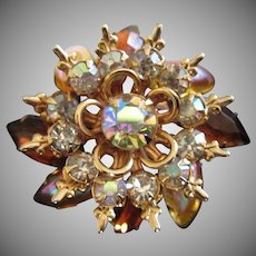 Topaz, Iridescent and AB Rhinestone Vintage Pin Brooch