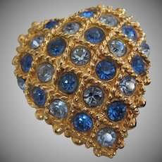 Heart Shape Blue Rhinestones Vintage Pin Brooch