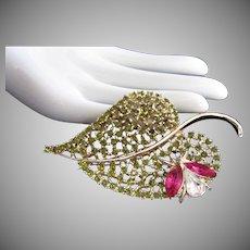 Dodds Olivine Rhinestone Leaf Pin Brooch with Fuchsia Rhinestone Bug