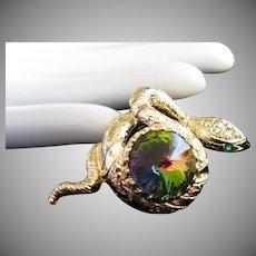 Rhinestone Snake Wrapped Around Watermelon Rivoli Pin Brooch, Gold Tone