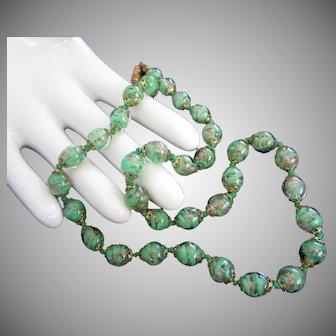 Spring Green and Gold Fluss Glass Bead Vintage Necklace