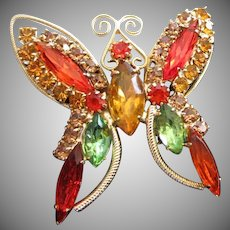 Vintage Juliana Butterfly Pin Brooch in Hyacinth and Topaz
