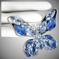Vintage Sapphire Blue Rhinestone Butterfly Pin Brooch