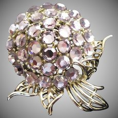 Vintage Lavender Rhinestone Pom Pom Flower Pin Brooch