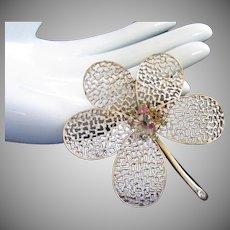 Enamel and Rhinestone Flower Trembler Pin Brooch