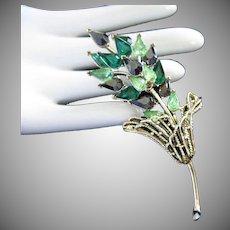 Coro Emerald, Peridot and Hematite Floral Spray Rhinestone Pin Brooch