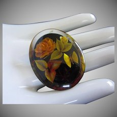 Dried Roses and Butterfly In Lucite Vintage Pin