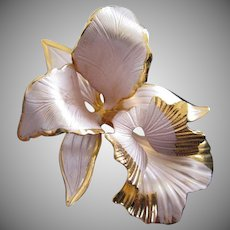 Lavender Enamel and Gold Tone Orchid Flower Pin Brooch