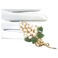 Swoboda Jade and Pearl Grape Bunch Pin Brooch