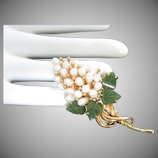 Swoboda Jade and Pearl Grape Bunch Pin Brooch